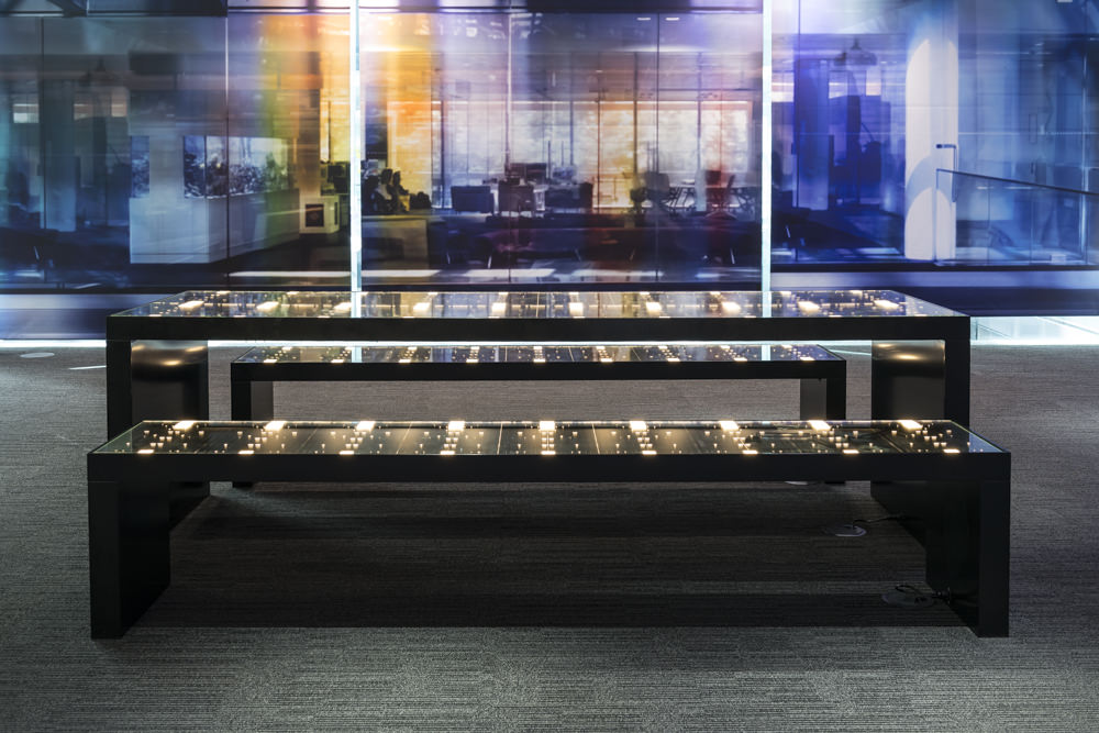Stuart Haygarth's 'Starboard' illuminates 76 reclaimed Bloomberg keyboard panels