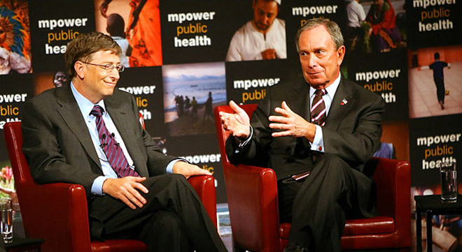 Microsoft co-founder Bill Gates and Mayor Michael Bloomberg announce their partnership to combat global smoking at a press conference in New York City on July 23, 2008. They agreed to a combined charitable donation of half a billion dollars to the Bloomberg Initiative to Reduce Tobacco Use.