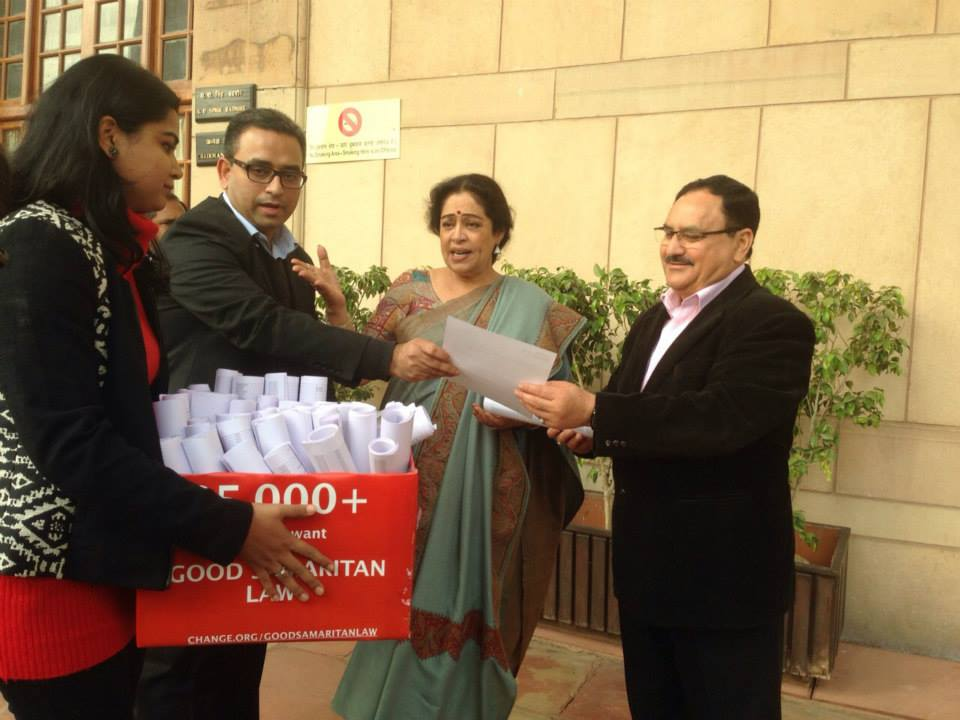 Signatures collected being presented to MOH India