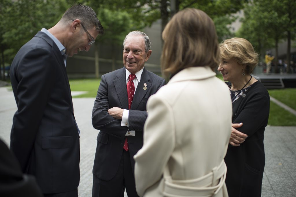 Michael Arad, Mike Bloomberg, Patti Harris and Anita Contini at the 9/11 Memorial Glade dedication ceremony in May, 2019.
