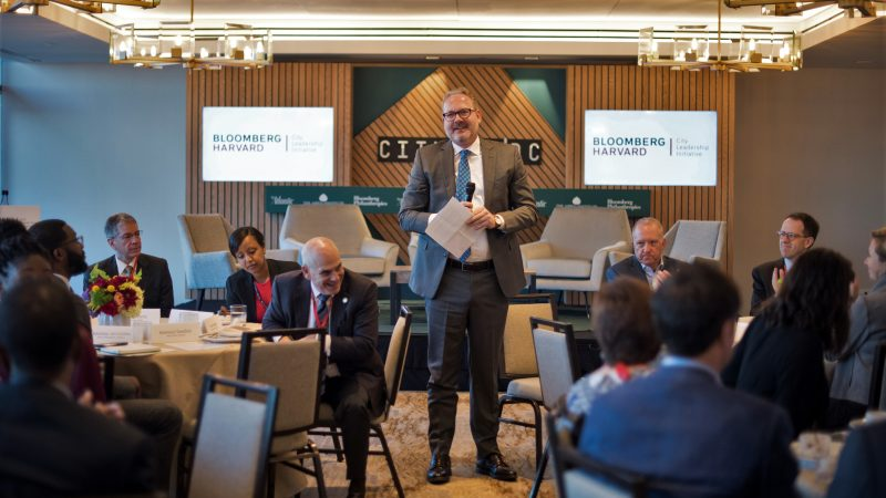 Jorrit de Jong speaking to alumni of the Bloomberg Harvard City Leadership Program at CityLab in October, 2019.