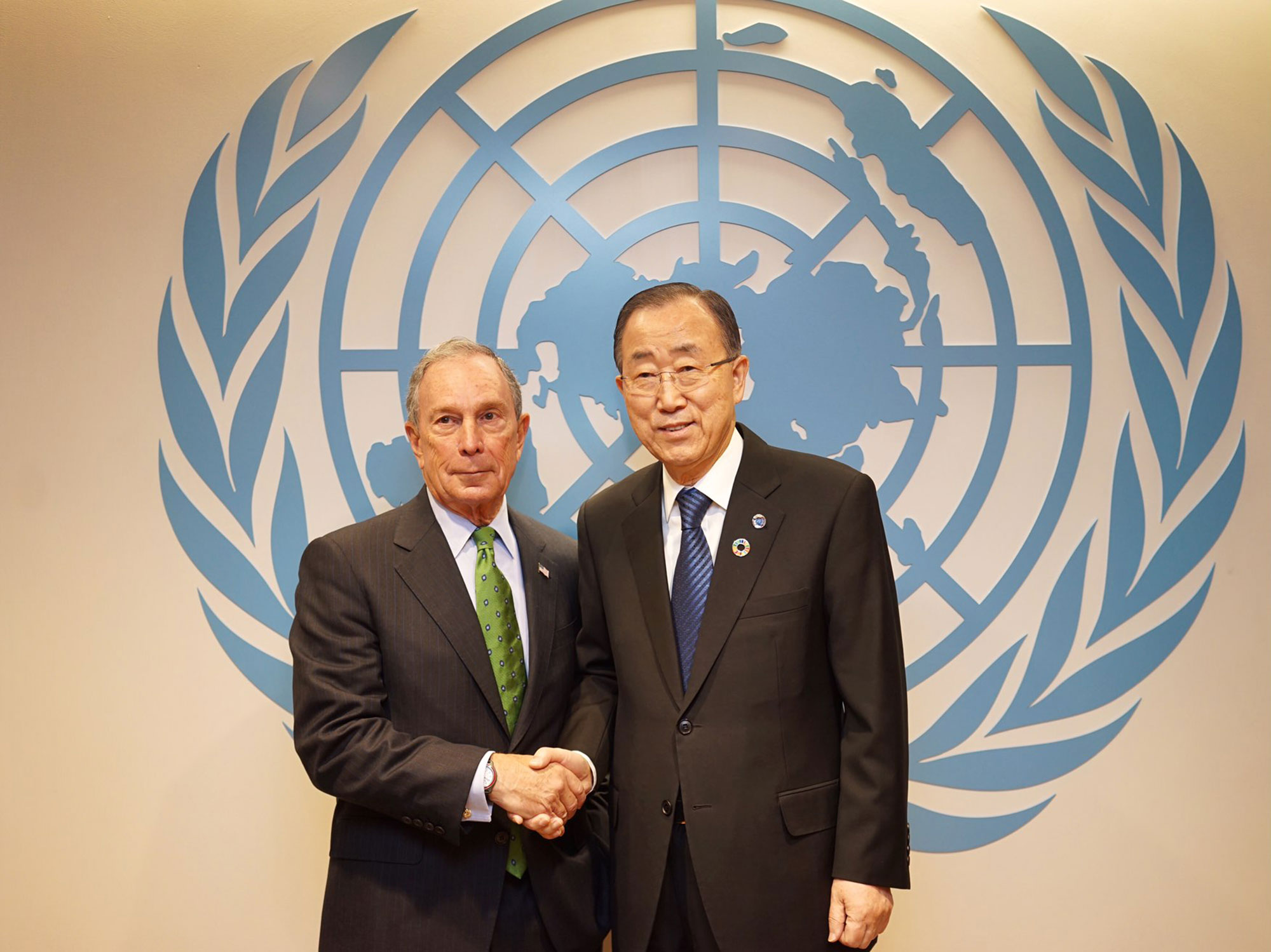 Mike Bloomberg and UN Secretary General Ban Ki-moon at the Investor's Summit on Climate Risk