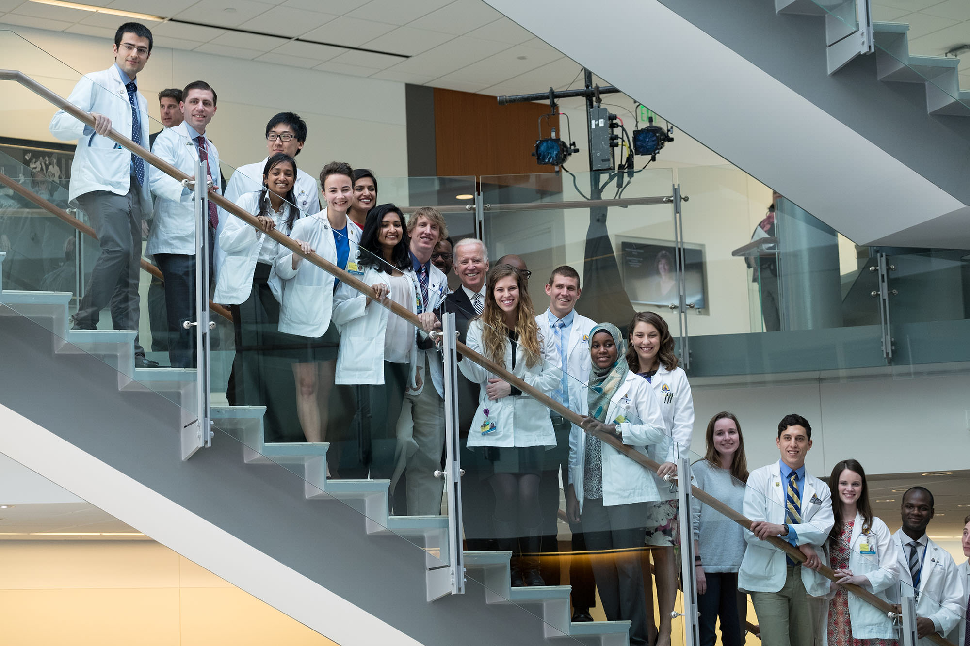 Vice President Joe Biden joins medical students at Johns Hopkins at the announcement of the establishment of the Bloomberg~Kimmel Institute for Cancer Immunotherapy