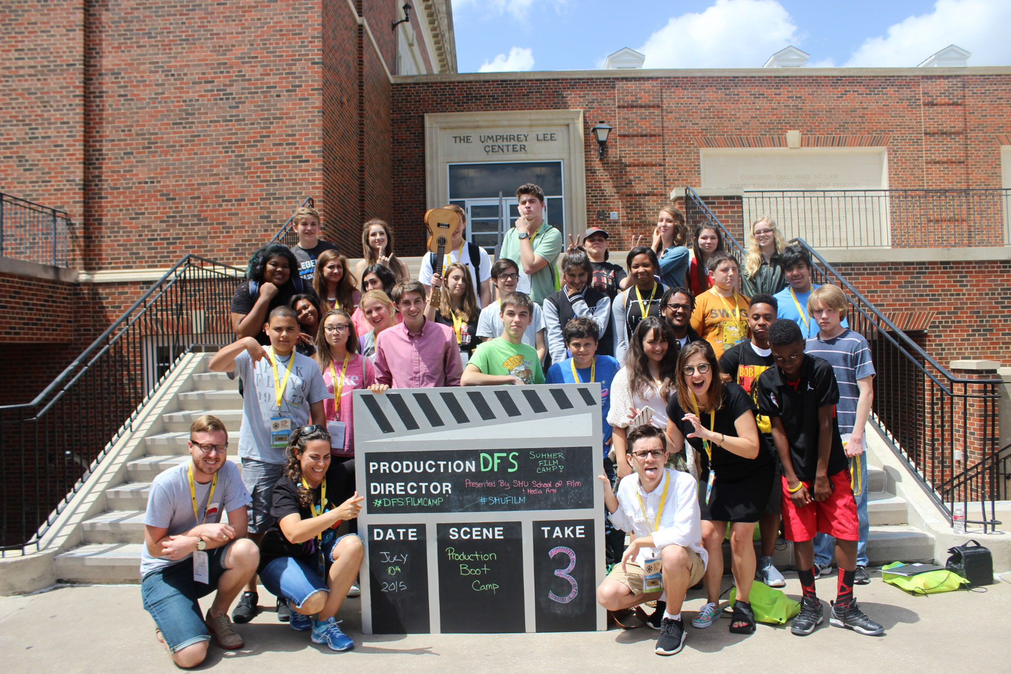 Dallas Film Society, a participant in Bloomberg Philanthropies Arts Innovation & Management program, poses with their 2015 Summer Film Camp