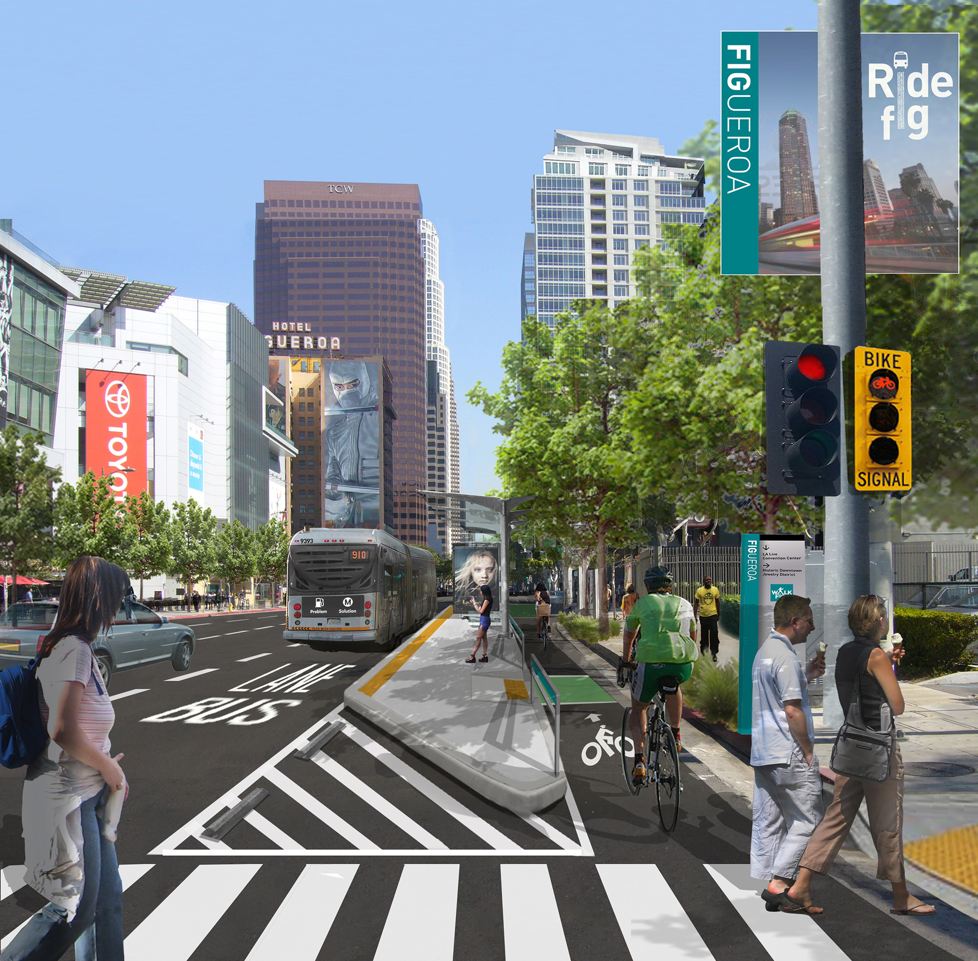 Rendering of the Figuroa and 11th intersection in Los Angeles following Bloomberg Associates transportation discipline work