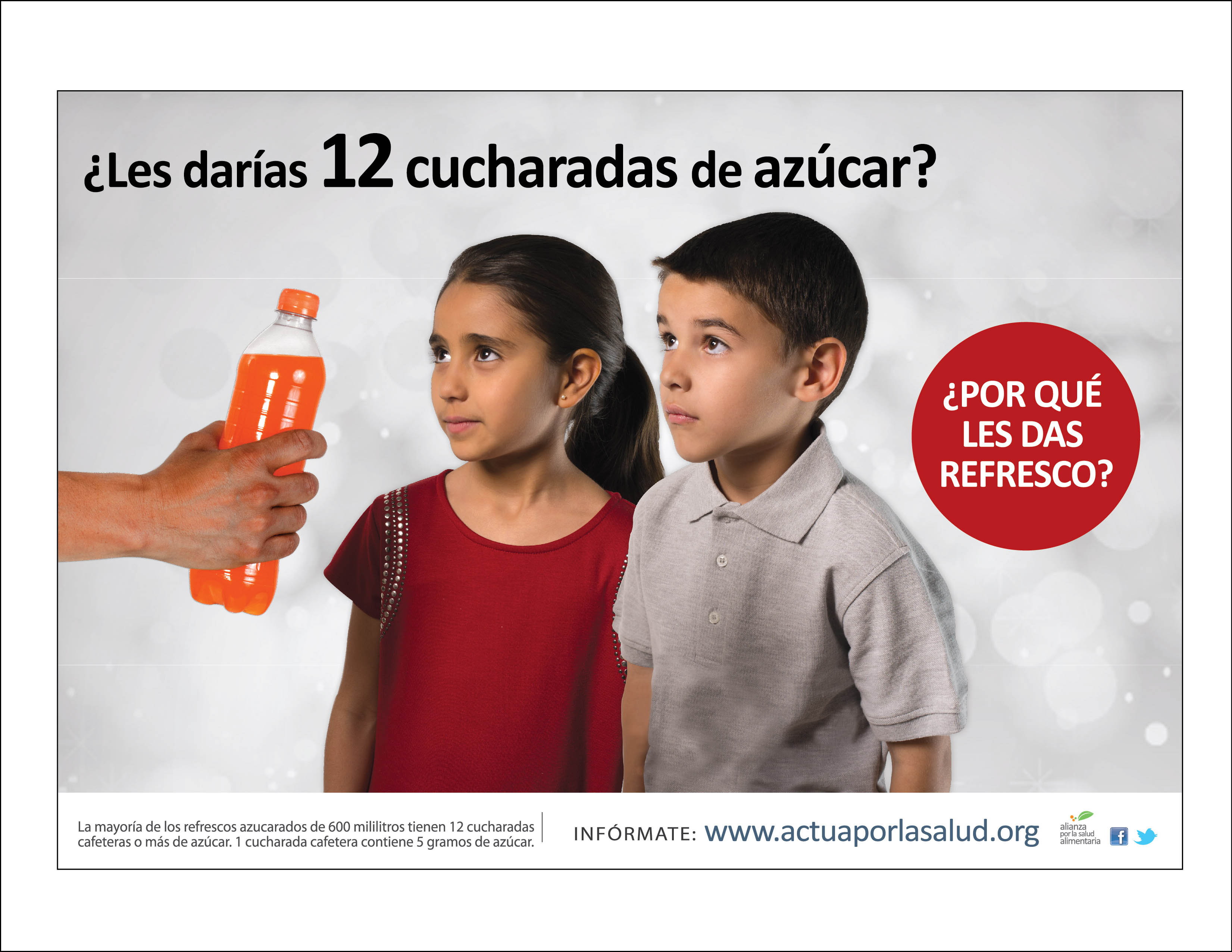 A public awareness ad that ran in Mexico when the soda tax was being debated. Translation: Would you give them 12 spoonfuls of sugar? Why do you give them soda? Photo credit: Alianza por la Salud Alimentaria