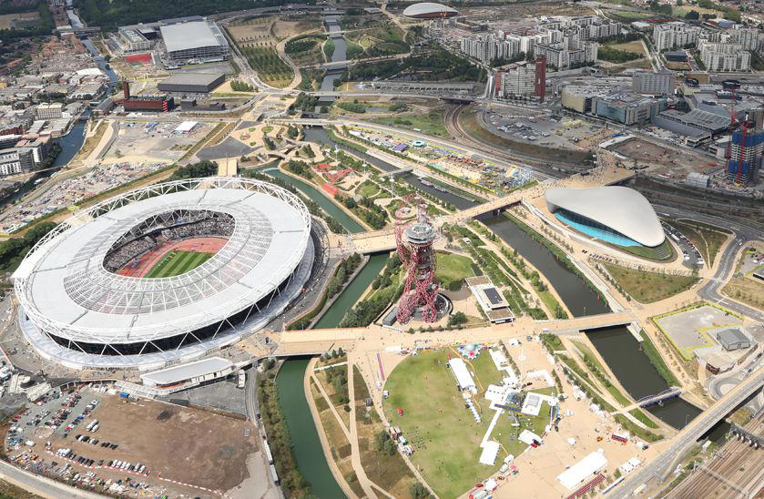 Aerial view of Queen Elizabeth Olympic Park, a core project with Bloomberg Associates Cultural Assets and Urban Planning disciplines