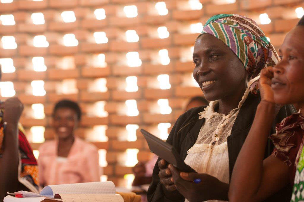 A woman attends a class at the Women's Opportunity Center