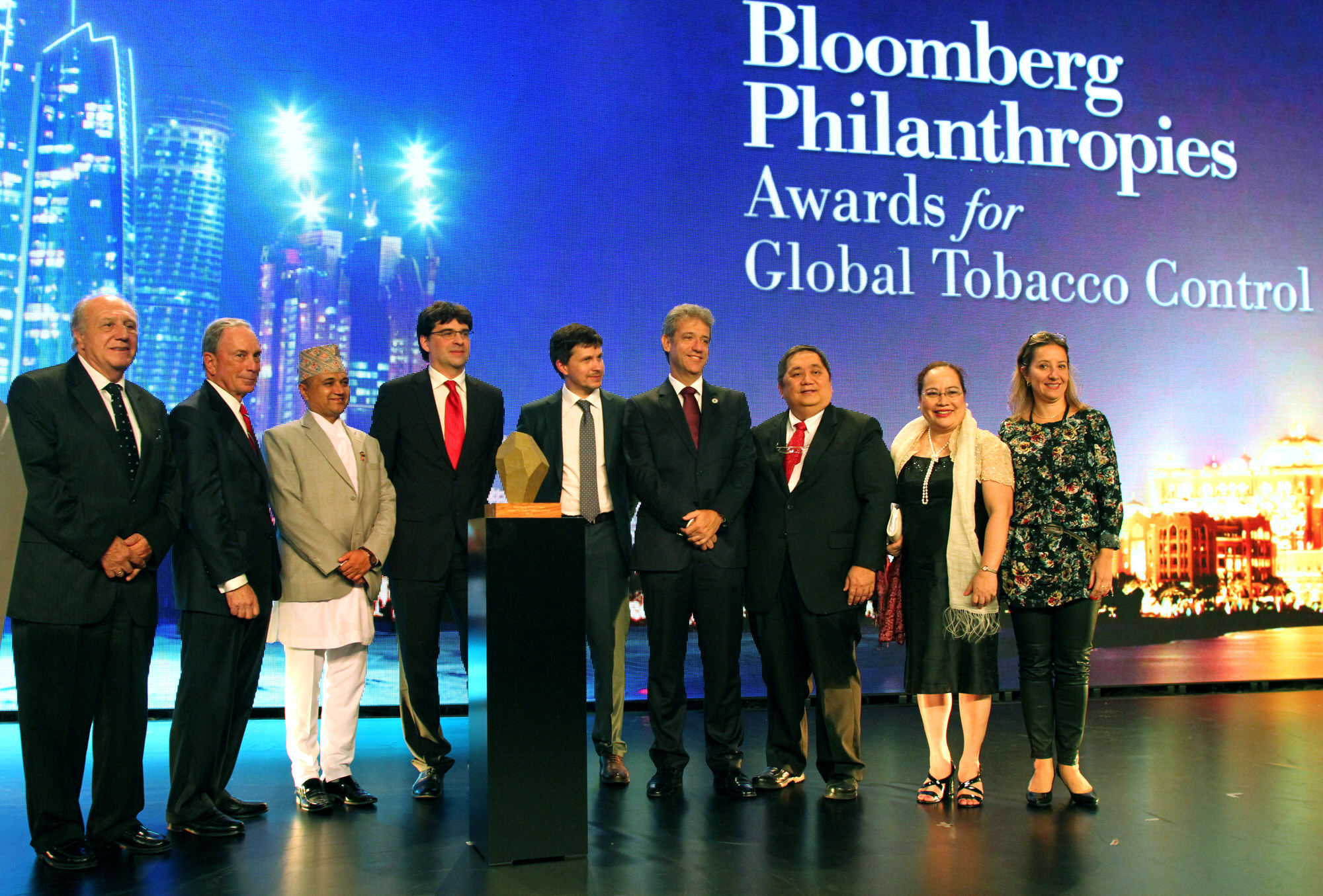 Mike Bloomberg presents the 2015 Bloomberg Philanthropies Global Tobacco Control Awards to Uruguay, Russia, Philippines, Nepal, Brazil and Ukraine