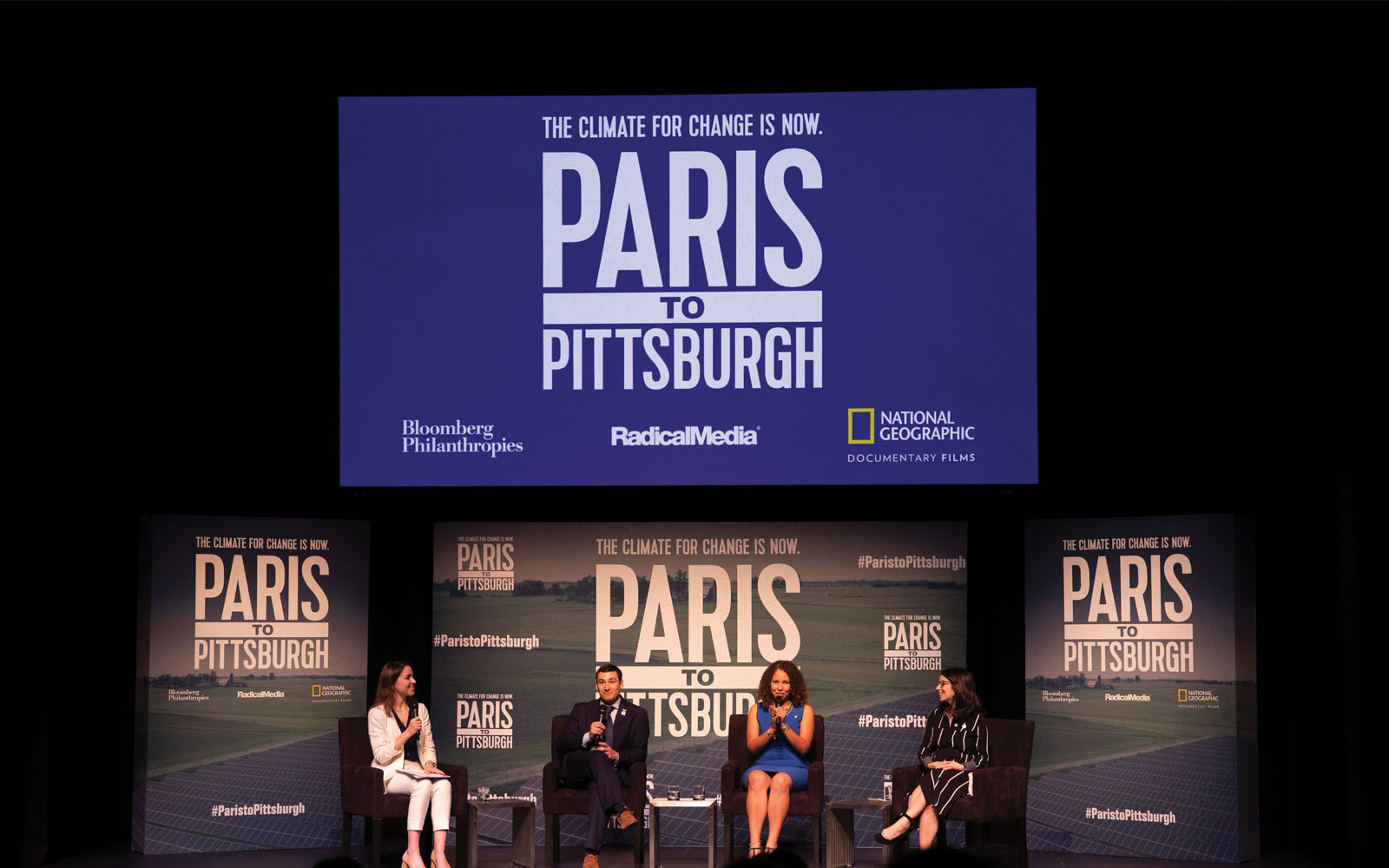 Panelists at an advance screening of Paris to Pittsburgh in Orlando, Florida.