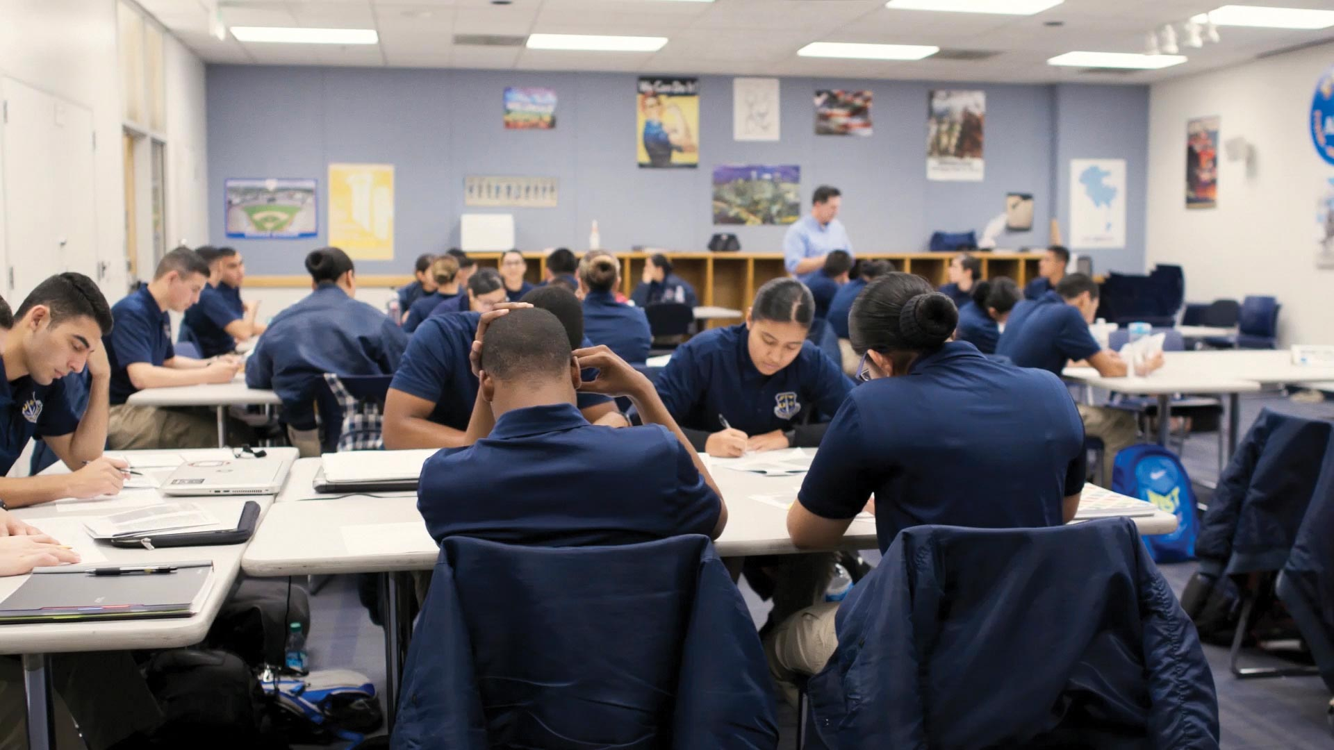 Young police trainees in Los Angeles, California, learn through a program created by the city's innovation team to keep them engaged in the recruitment process until they can become sworn officers at age 21.