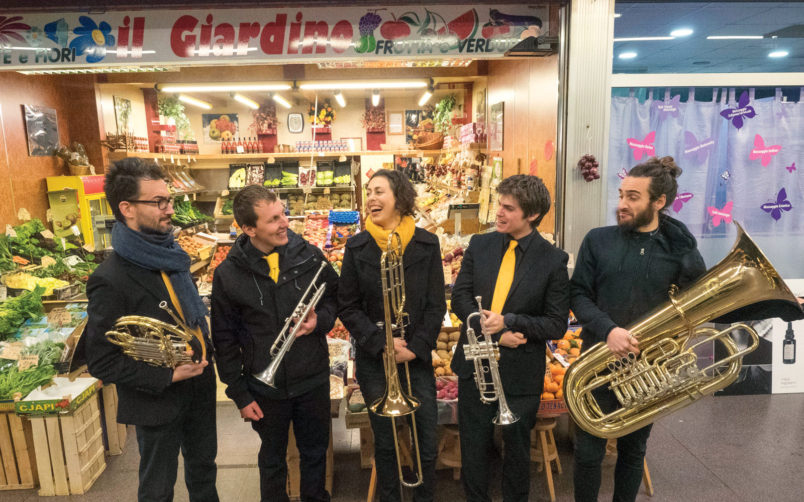 Local band Wacky Brass Quintet performs at Chiarelli Market in Milan.