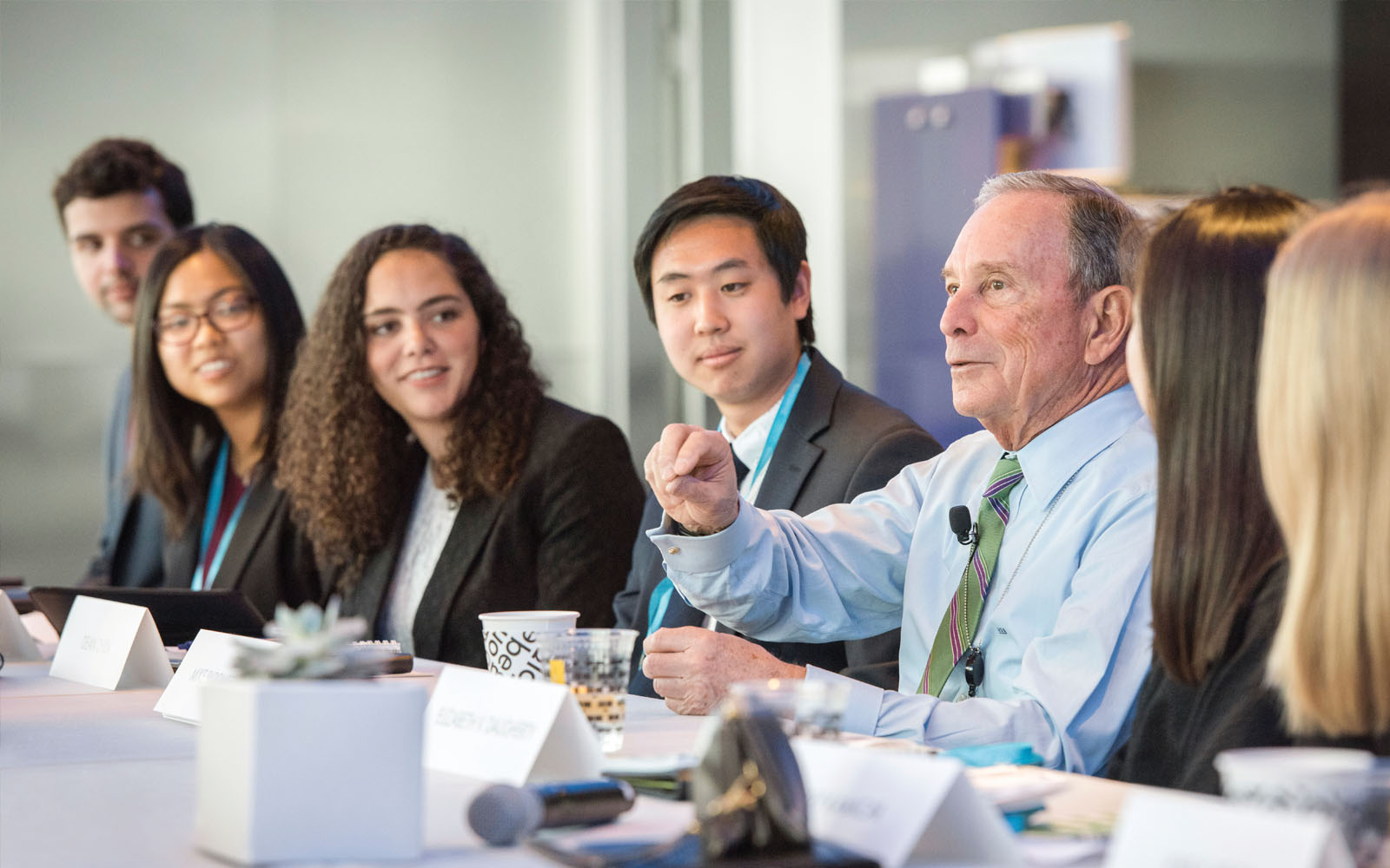 Mike Bloomberg hosts Johns Hopkins Bloomberg Scholars at the Bloomberg L.P. headquarters in New York City.
