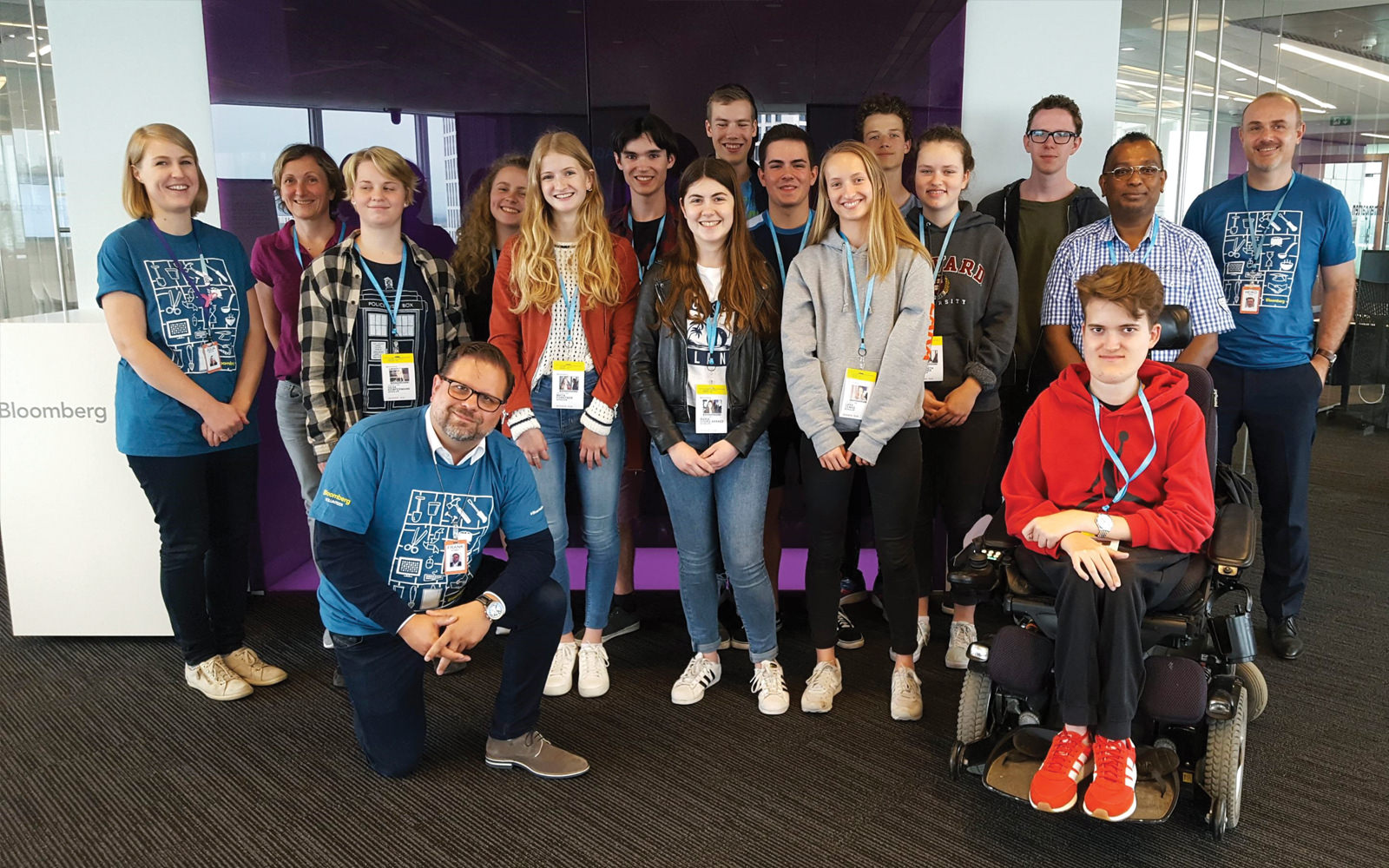Bloomberg L.P. mentors host students at its offices in Frankfurt, Germany, through the Bloomberg Startup program.
