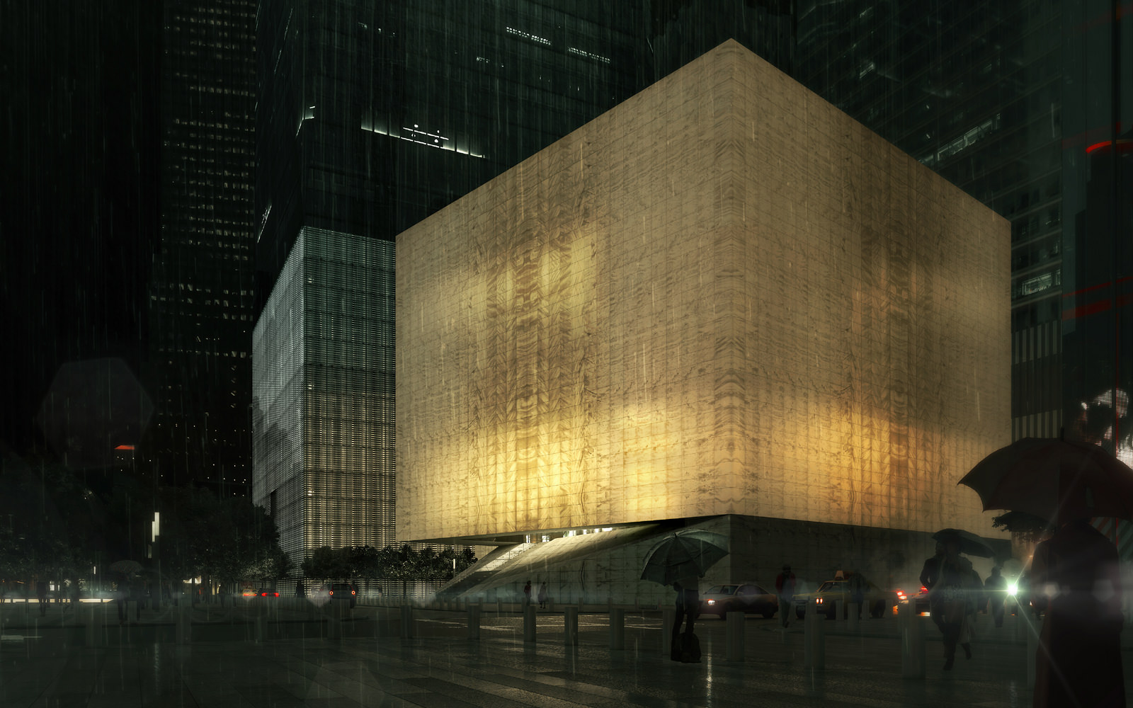 A rendering of the Perelman Center for Performing Arts, which is currently under construction at the World Trade Center.