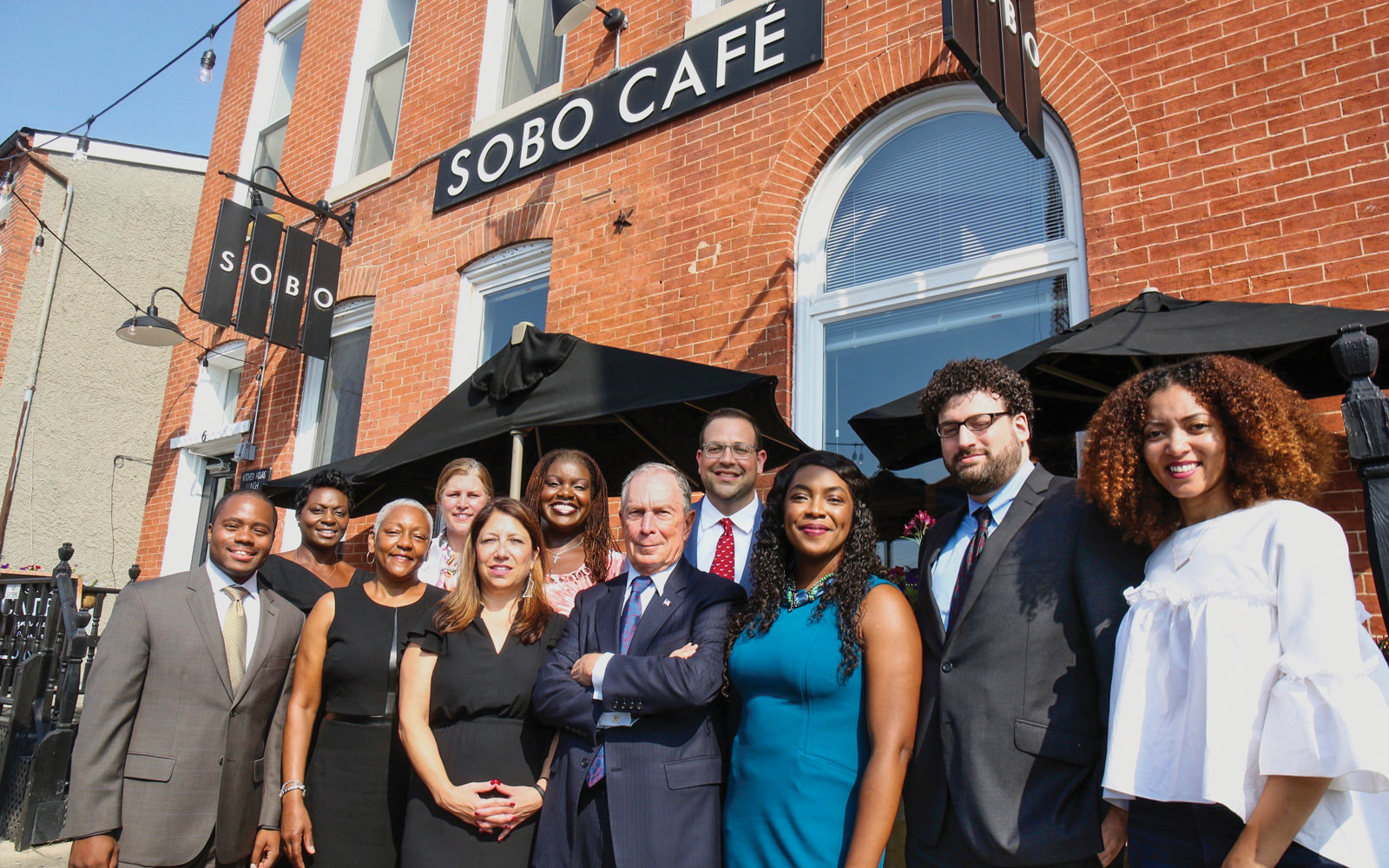Mike Bloomberg visits SoBo Café, a graduate of the Goldman Sachs 10,000 Small Businesses Baltimore program.