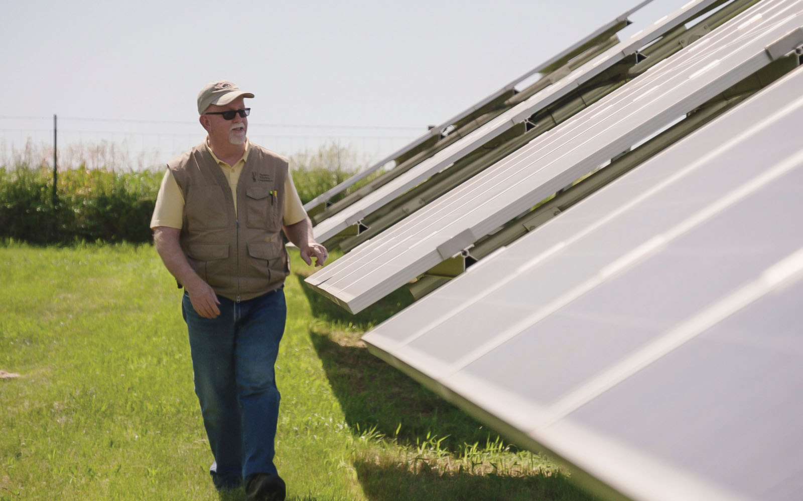 Scene from the documentary, visiting a solar farm at Farmers Electric Cooperative in Kalona, Iowa.
