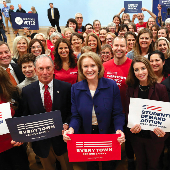 Mike Bloomberg, Mayor Jenny Durkan of Seattle, Washington, and Moms Demand Action for Gun Sense in America