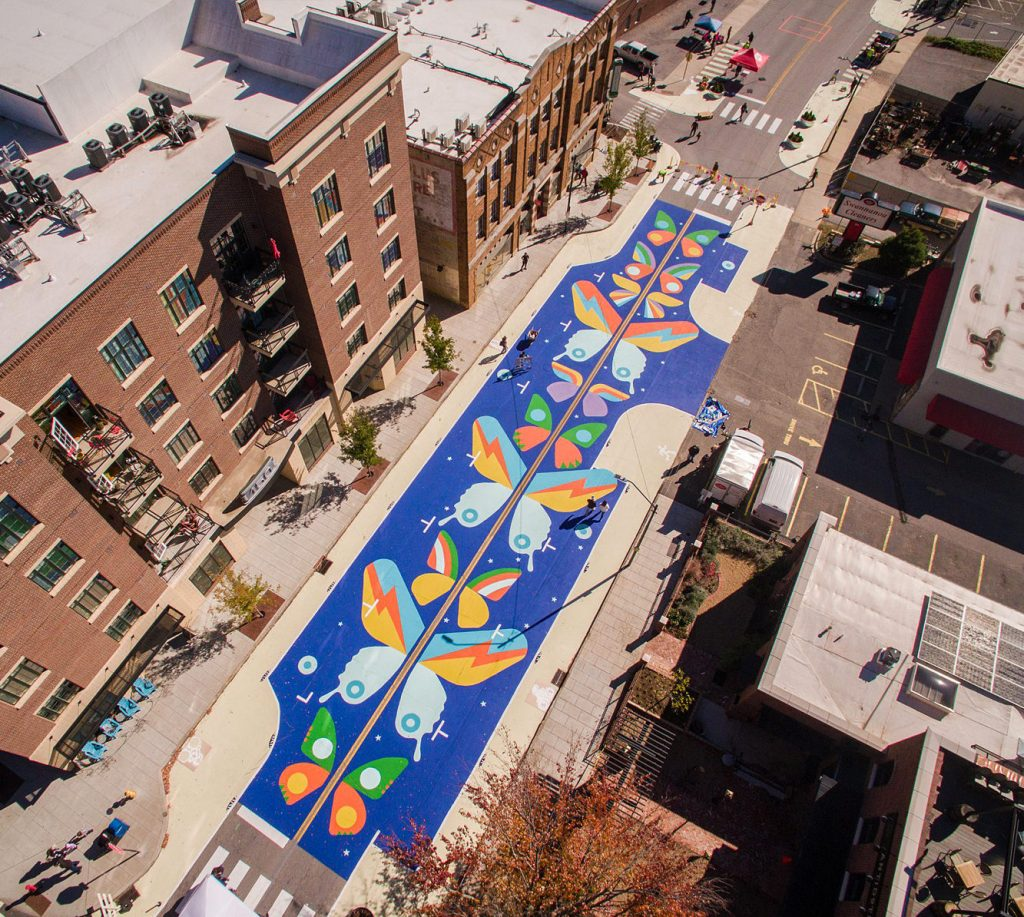 Butterfly mural in Asheville, NC, by Sound Mind Creative. Photo by Justin Mitchell.