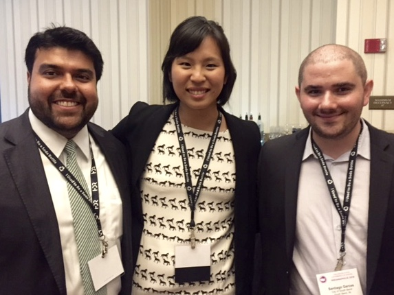 (Left-right) Chief Services Officer of Austin, Texas, Sly Majid, WWC Associate Director Jennifer Park, and Chief Innovation Officer of the City of South Bend, Indiana, Santiago Garces