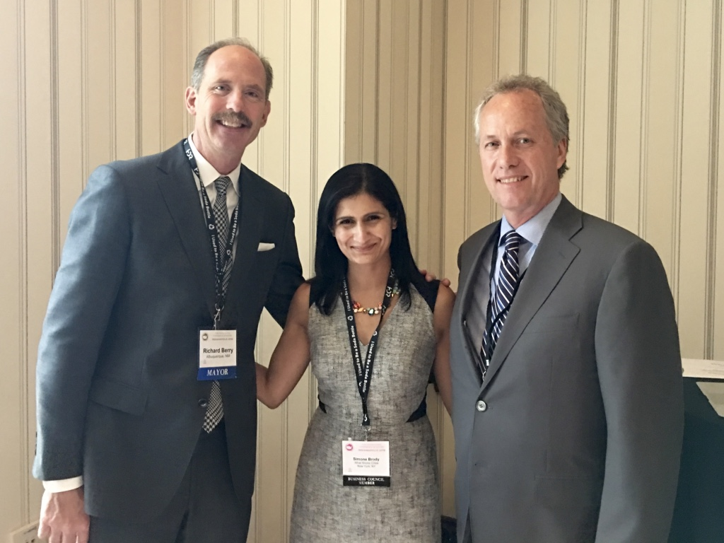 (Left-right) Mayor of Albuquerque, New Mexico, Richard J. Berry; WWC Executive Director Simone Brody; and Mayor of Louisville, Kentucky, Greg Fischer