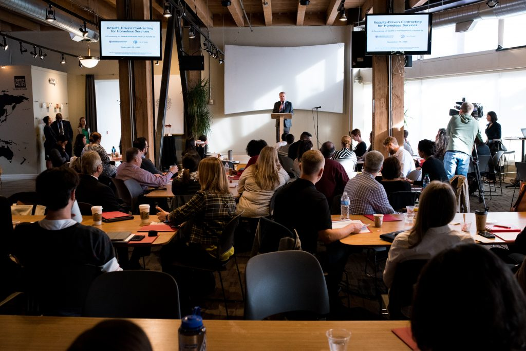 Mayor Ed Murray speaks to a room full of attendees at a convening co-hosted by the Government Performance Lab and the City of Seattle
