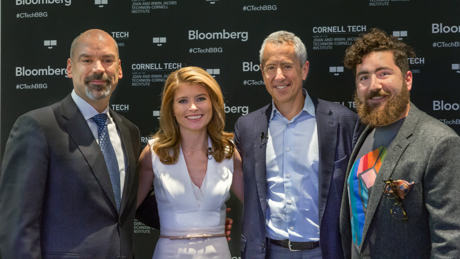 CornellTech@Bloomberg Speakers series which featured Danny Meyer, restaurateur, CEO of Union Square Hospitality Group and founder of Shake Shack., was held at Bloomberg Global Headquarters in New York on November 14, 2016.                          After more than thirty years in the industry Meyer remains a frontrunner in the New York City food scene, with consistently strong public reception, four-star customer experiences, and an unprecedented 28 James Beard Awards.   Meyer joined Vonnie Quinn of Bloomberg News for an onstage discussion about his career and life and the evolving intersection of hospitality and technology. As a pioneer of technological integrations, including Apple Watches in the newly renovated and iconic Union Square Cafe, to cutting edge restaurant concepts, and top notch employee benefits, Meyer's ideas continue to shake up and shape the future of restaurant services.  Photographer: Lori Hoffman/Bloomberg