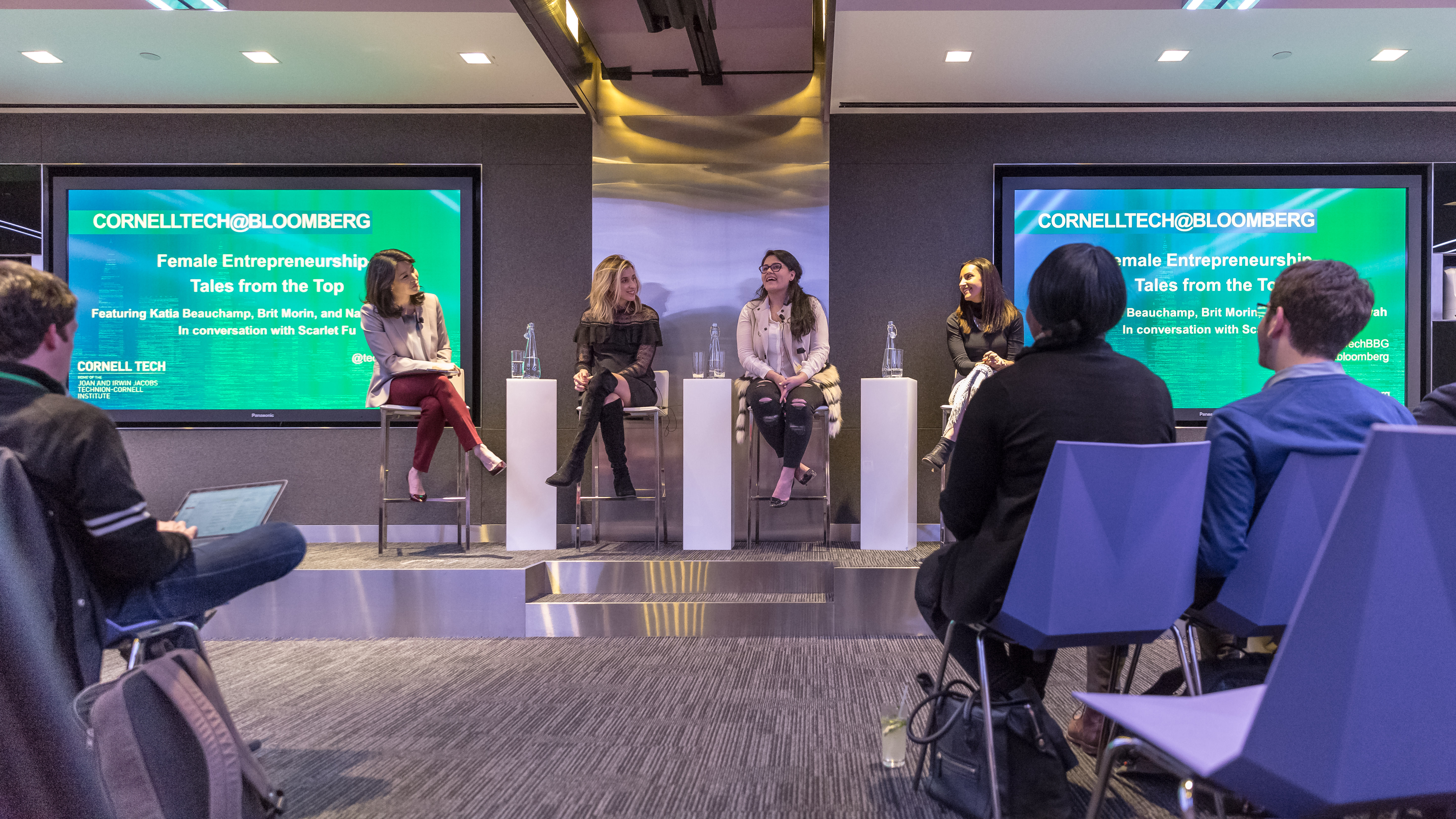 On February 7, 2017 CornellTech@Bloomberg series, featured a panel of three female entrepreneurs: Katia Beauchamp, co-founder and CEO of Birchbox, Brit Morin, co-founder and CEO of Brit + Co, and Nadia Boujarwah, co-founder and CEO of Dia&Co. Bloomberg News Anchor Scarlet Fu moderated the panel at Bloomberg LP's Global Headquarters in New York. Credit: Lori Hoffman/Bloomberg