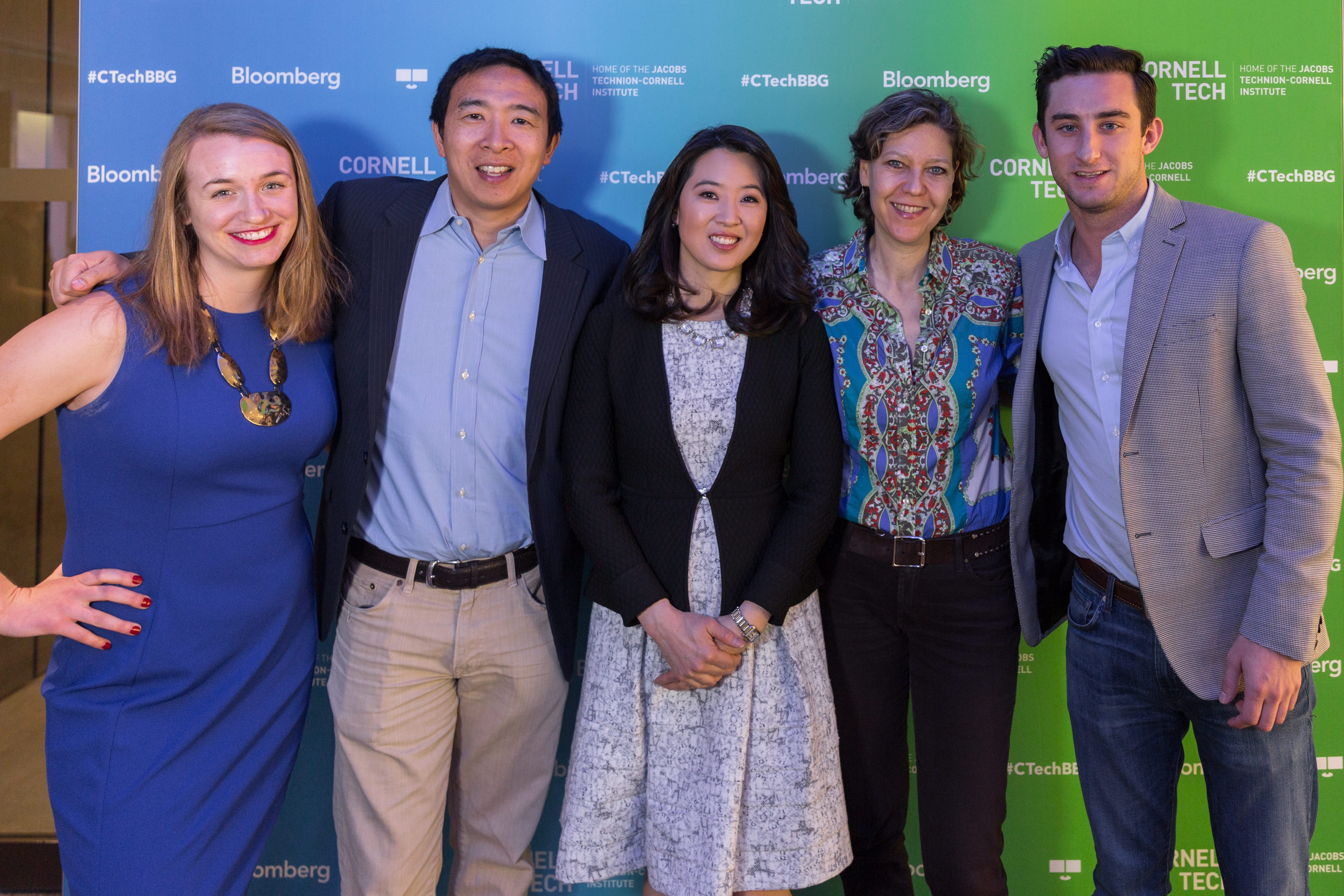 "On May 8, 2017 CornellTech@Bloomberg featured a viewing of the film ""Generation Startup"" at Bloomberg Global Headquarters in New York. A panel discussion hosted by Bloomberg Anchor Scarlet Fu, Andrew Yang , Kate Caitlyn & Labib Rahman followed the screening. Photographer: Lori Hoffman/Bloomberg"