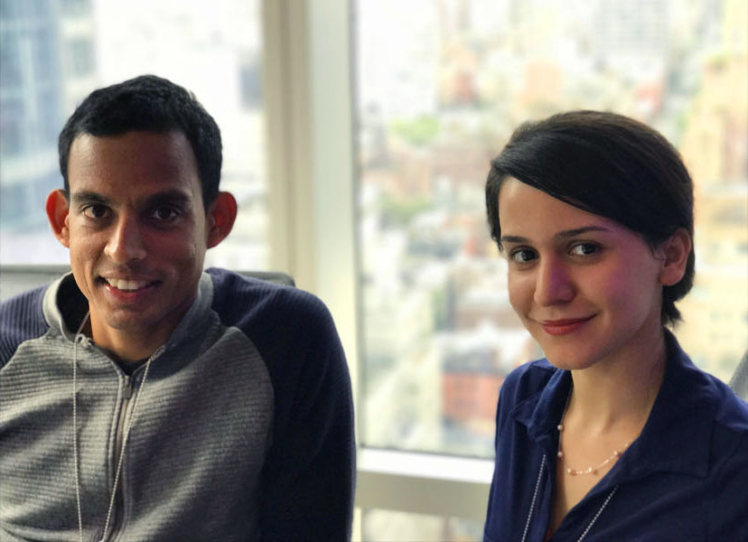 Anju Kambadur, senior research scientist in the NLP group at Bloomberg (left) and Fatemeh Navidi, a Bloomberg intern and Ph.D. student at the University of Michigan