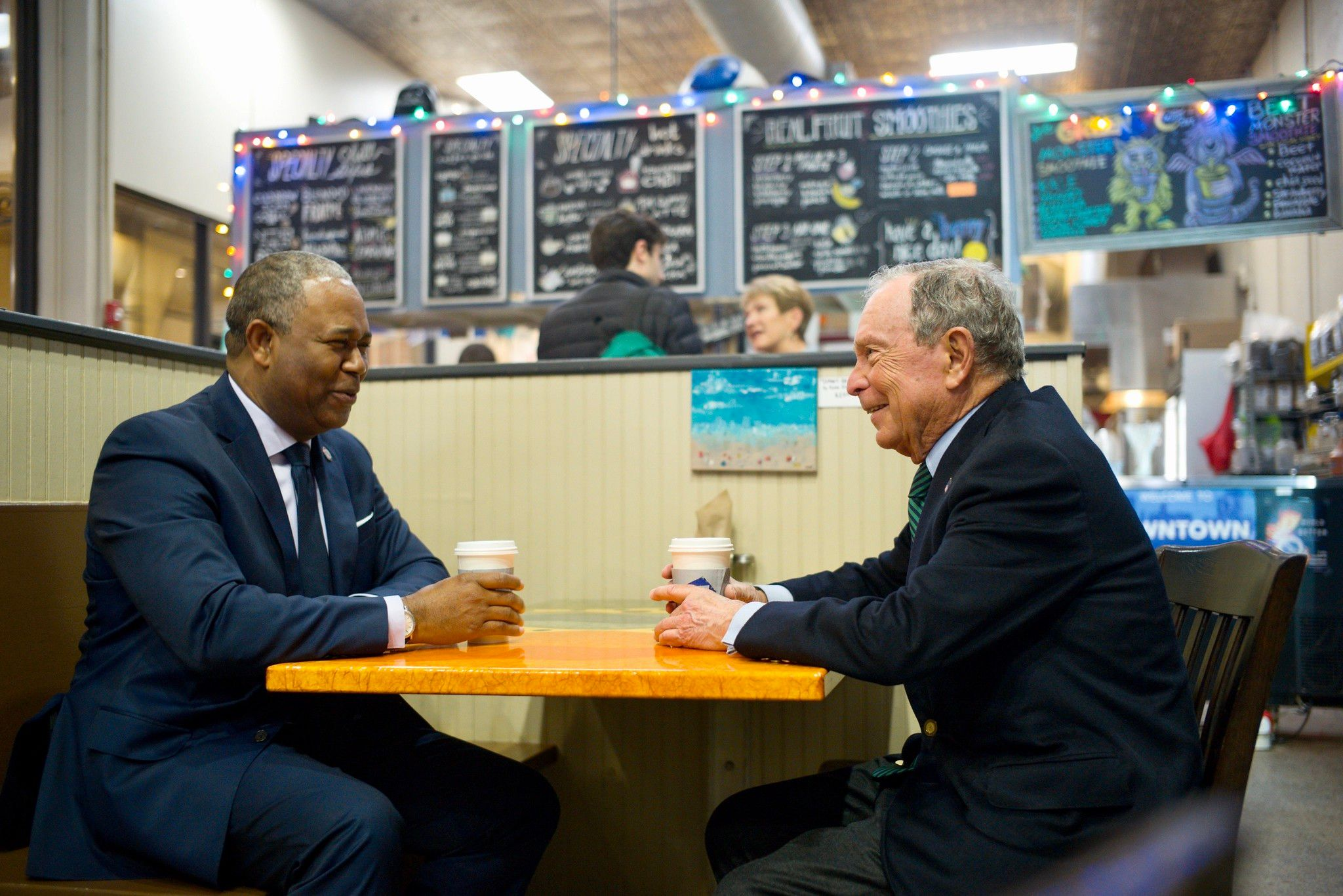 Mike Bloomberg meets with Mayor Hardie Davis, Jr. at New Moon Cafe in Augusta, Georgia on December 6, 2019.