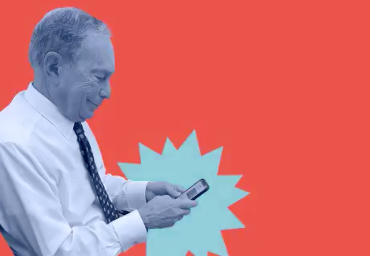"Image of Mike Bloomberg texting ""Mike"" to 80510"