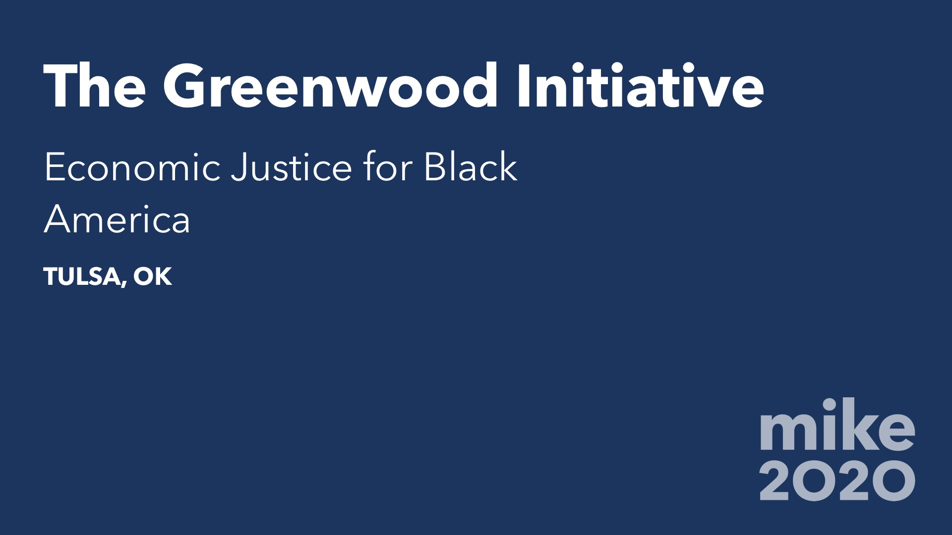 The Greenwood Initiative: Economic Justice for Black America (Live Stream)
