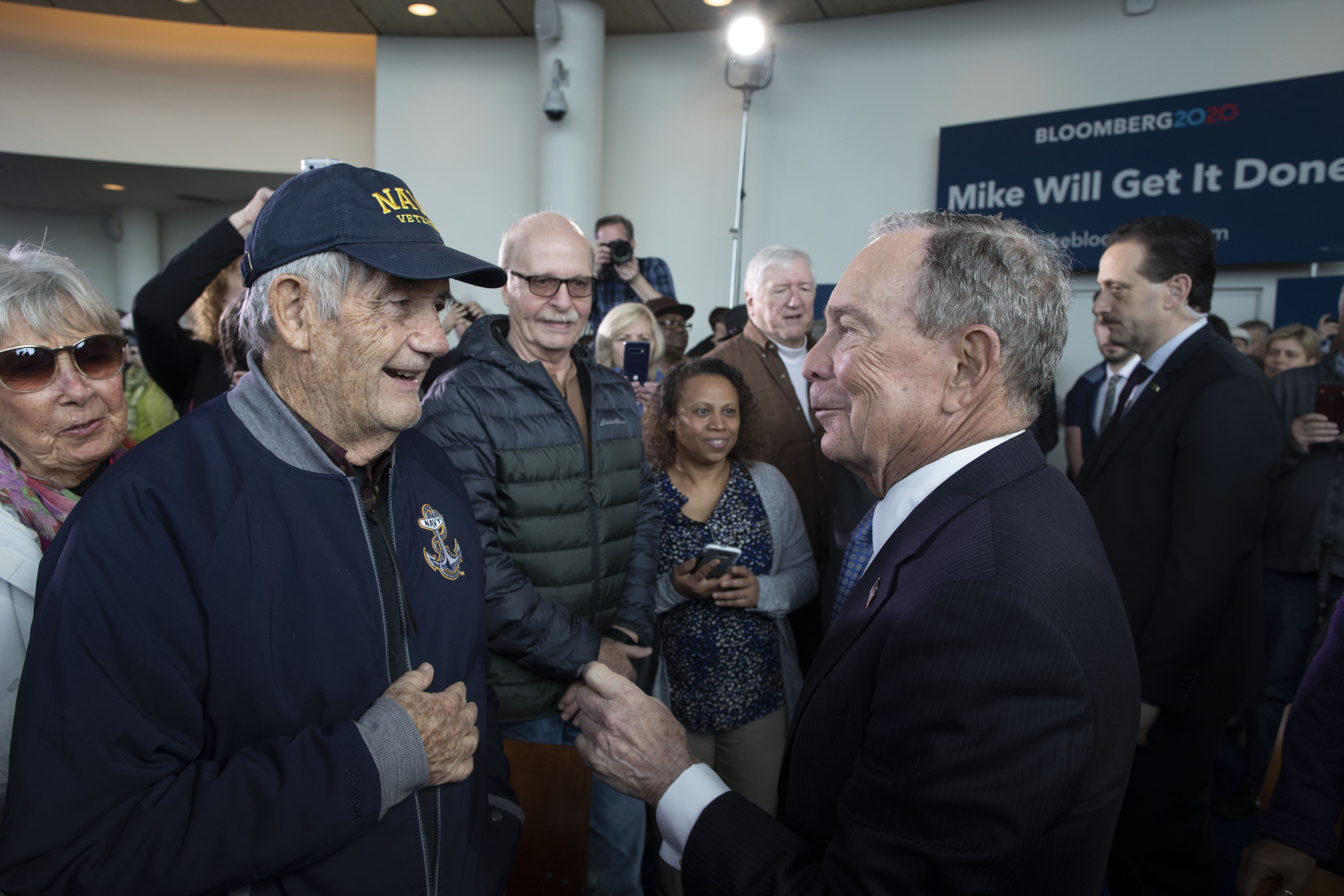 Mike meets veterans during a campaign stop in Norfolk, Virginia.