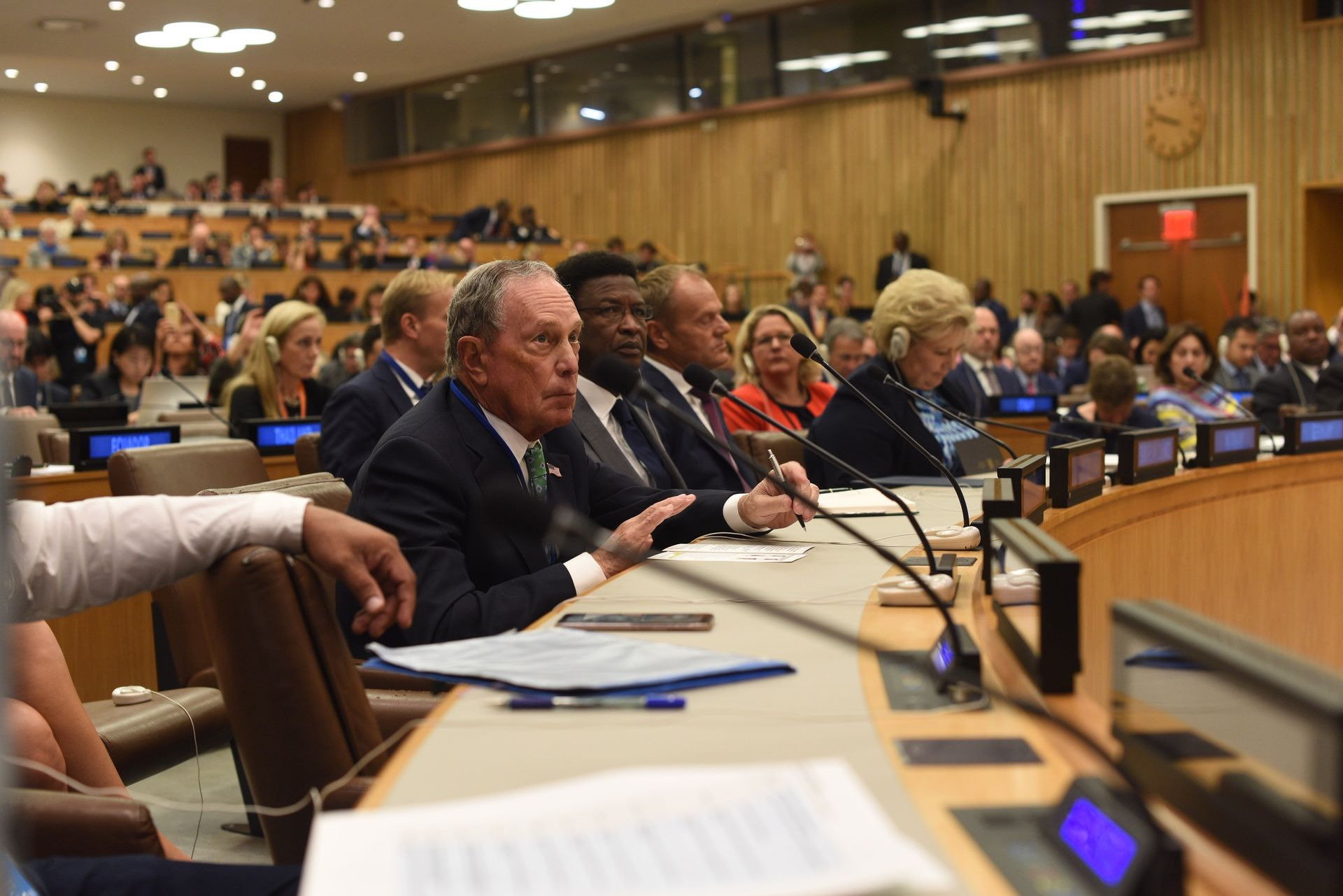 Mike Bloomberg speaks at the UN Climate Action Summit on September 23, 2019 in New York City.