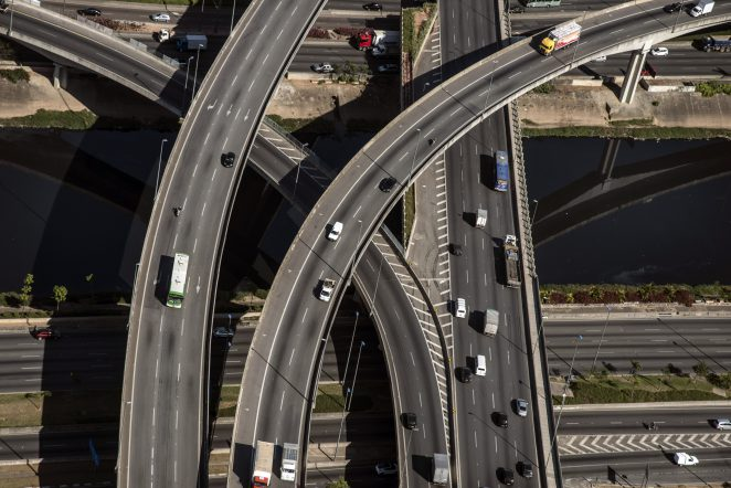Cars drive past bridges,  Sao Paulo, , Brazil, on Thursday, August 23rd, 2013.  Photographer: Paulo Fridman /Bloomberg News