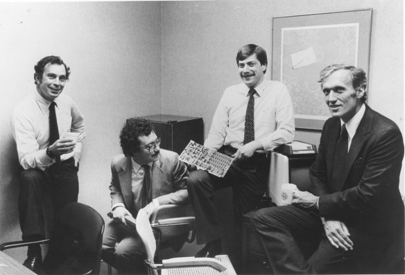Os quatro co-fundadores da Bloomberg L.P.: Michael R. Bloomberg, Chuck Zegar, Tom Secunda, Duncan MacMillan (Fotógrafo: Fred R. Conrad/The New York Times)