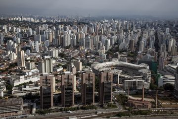 a view of  Sao Paulo showing new buldings and the Palestra Italia's soccer stadium construction , Sao Paulo, Brazil, on Friday August 23rd, 2013.  Photographer: Paulo Fridman /Bloomberg News